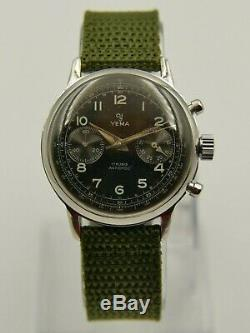 60's vintage watch YEMA Chronograph Valjoux 92 black dial military style RARE