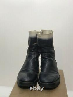 Ann Demeulemeester boots Rare Ombre White 37 Runway Black Leather Vintage Combat