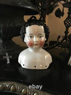 Antique China Shoulder Head Doll Rare Hairstyle Dreamy Expression Large Lovely