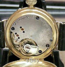 Antique Vintage 1949 Solid 18ct Rare Rotherhams Half Hunter Trench Style Watch