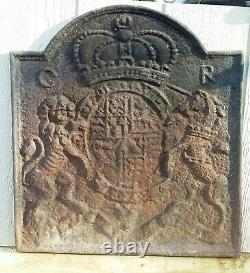 English Cast Iron Fireback By Thomas Elsley Rare Antique with Natural Patina