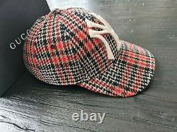 Gucci Men's NY Yankees Red black Plaid Cap, Size 57-61cm very rare! Death Stock