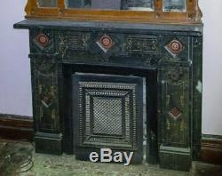 RARE Slate & Art Tile Mantel Salvaged from an 1885 Italianate Estate, Mantle