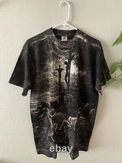 RARE Vintage 90s Gustave Dore Jesus Christ Crucifixion Art All Over Tee Shirt L