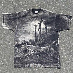 RARE Vintage 90s Gustave Dore Jesus Christ Crucifixion Art All Over Tee Shirt XL