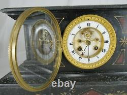RARE antique Japy Freres BLACK SLATE MARBLE French Mantel clock OPEN ESCAPEMENT