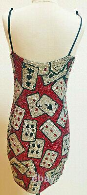 REDUCED! 80s Pink Soda Brand Sequined Playing Cards Cocktail Dress Rare Novelty