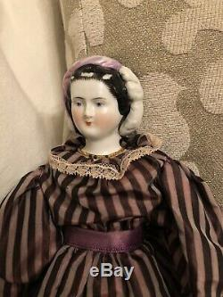 Rare 11.5 Petite Antique German Empress Eugenie China Doll Snood Fancy Hair