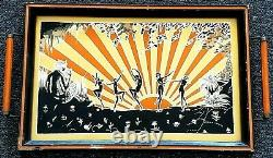Rare 1920's Art Deco Reversed Painted Pixie Flapper Mirror Serving Tray barware