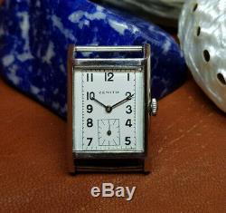 Rare 1940's Zenith Sub Second White Dial Manual Wind MID Size Watch