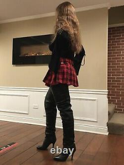Rare 34 Wild Pair Vintage 80s Over The Knee Thigh High Crotch Boots Brand New
