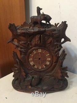 Rare Antique Beha Style Carved Black Forest Cuckoo Shelf Clock Case Only
