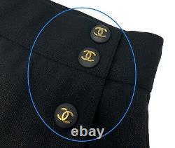 Rare Auth CHANEL Vintage CC Logo Buttons Long Skirt #38 Black Gold Wool Rank A