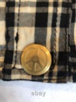 Rare Vintage Moschino Jeans Plaid Crop Top W Peace Sign Snap Closure S/m
