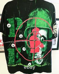 Rare vintage 1992 Public Enemy rap tee All Over Print Single Stitched USA Hanes