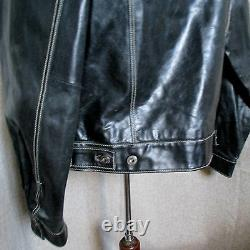 Very Rare Vintage GAP Leather Trucker Jacket BLACK SIZE SMALL