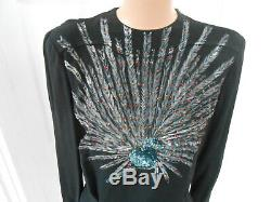 Vintage 1940's Jerry Gilden Spectator Peacock Hand Painted Sequin Blouse RARE