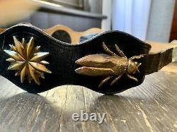 Vintage PHELPS Insect Bug Leather Belt RARE Handmade USA Brass