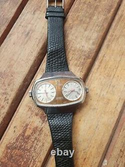 Vintage Rare JOVIAL Dual Time Dual Movements Automatic 34 Jewels Men's watch