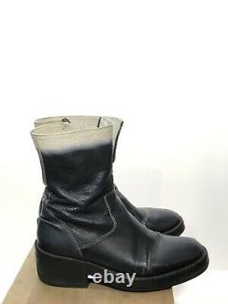 Ann Demeulemeester Bottes Rare Ombre White 37 Runway Black Leather Vintage Combat