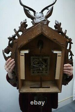 Antique Rare Black Forest Cuckoo Hunting Wall Clock 1880