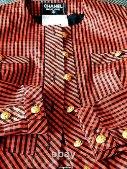 Auth. Rare Vintage Chanel Cropped Jacket Red Taffeta Silk Camellia Buttons 38/s