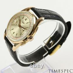 Longines Chronograph 1950s Vintage 37mm Cal 30ch 18k Pink Gold, Very Rare, Gand