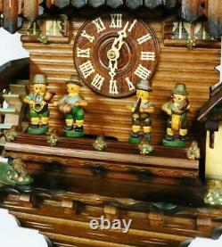 Rare Allemand 8 Jours Black Forest Weight Driven Musical Automaton Cuckoo Wall Clock