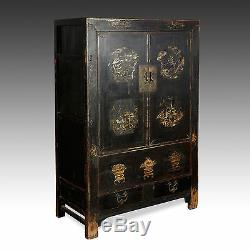 Rare Antique Qing Dynastie Chinoise Shanxi Laque Gilded Painted Cabinet C 18