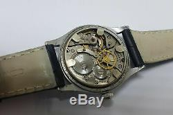 Rare Manuel Dial Vintage Silver Universal Wind MID Taille Montre