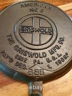 Rare Slant Griswold Waffle Fers 885/886 & High Base (88 0), Vers 1908