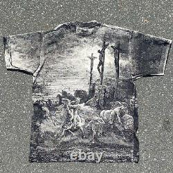 Rare Vintage 90s Gustave Dore Jesus Christ Crucifixion Art All Over Tee Chemise XL