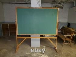 Rare Vintage Schoolhouse Double Dealtded Chalk Board On Stand Green Large Unique