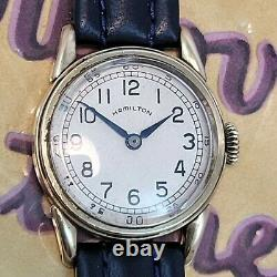 Re1 Rare Mens Wwii USA Classic Vintage Hamilton Officers 14k Gold Fill Watch