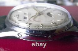 Rotary Fine Rare Calendrier Moon Phase Vintage'50 -s. Steel Back Manual Wind