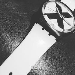 Swatch X-rated Watch (white Band) 1987 Rare Swiss Made Droit Bord X
